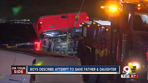 Boys describe attempt to save father and daughter from pond