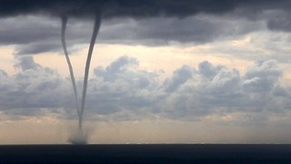 Rare Footage Of Waterspouts Stretching From Clouds To The Sea - Video