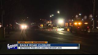 Water line break closes section of Eagle Rd. - Video