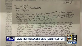 Civil rights leader gets racist letter with personal attacks