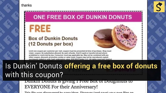 photograph relating to Dunkin Donuts Coupons Printable known as Reality Look at: Dunkin Donuts Fb Coupon