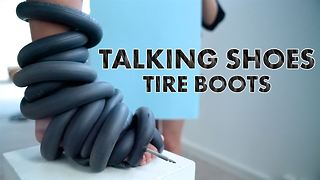 Tire boots with a message