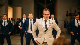 Groom Surprises Bride With Epic Groomsmen Dance - Video