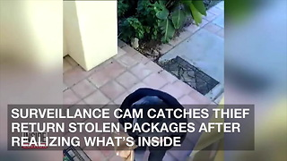 Surveillance Cam Catches Thief Return Stolen Packages after Realizing What's Inside - Video
