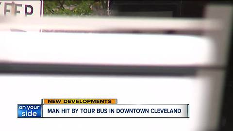 Man hit by tour bus in downtown Cleveland