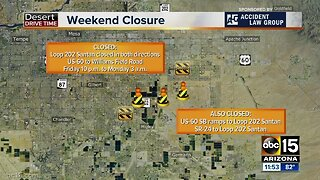 Weekend freeway closures around the Valley