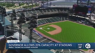 Governor allows 20% capacity at stadiums
