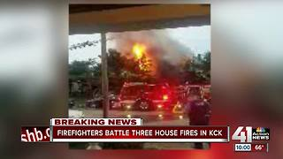 Kansas City, Kansas fire spreads to three homes, displacing residents - Video