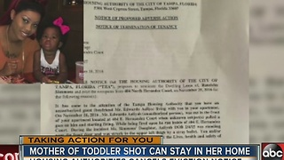 TAKING ACTION: Mother of toddler shot narrowly faces eviction - Video