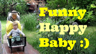 Happy, baby enjoy fast driving in DIY cart  - Video