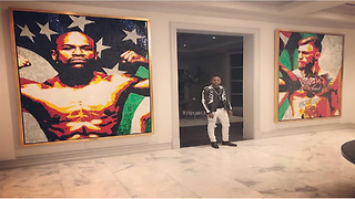 Floyd Mayweather Hangs Portrait of Conor McGregor on His Wall - Video