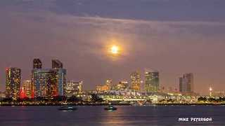 Supermoon Shines Over San Diego Convention Center - Video