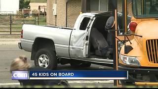 Driver critical following school bus/truck crash - Video