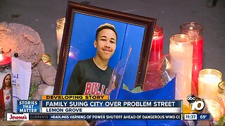 Family sues city over problem street