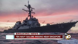 Ten Navy sailors missing near Singapore - Video
