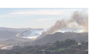 Smoke Rises From Lilac Fire Near Fallbrook - Video