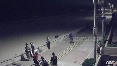 CCTV captures horrifying moment man knocks down two party goers