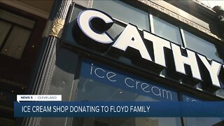 Black-owned ice cream sandwich shop gives back to George Floyd's family