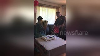 Firefighters surprise woman with Down Syndrome on her birthday - Video