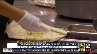 Chipotle offering deal for U.S. military - Video