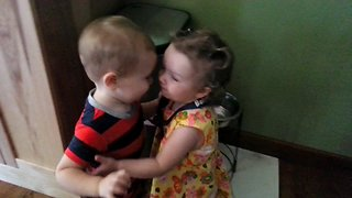 Little Boy Has Priceless Reaction After Hugging Girl For The First Time - Video