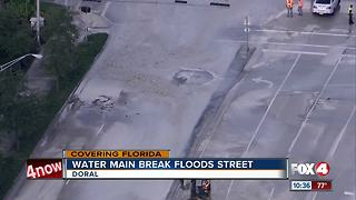 Water main break floods Doral street and apartment complex