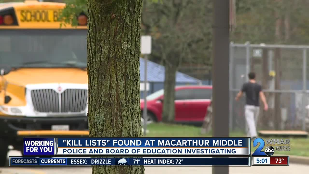 """""""Kill Lists"""" found at Anne Arundel County middle school"""