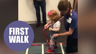 Brave three-year-old takes first steps thanks to crowdfunding campaign - Video