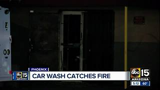 Car wash catches fire in Phoenix - Video
