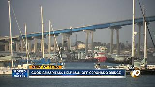 Good Samaritans help man off Coronado Bridge - Video