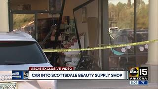 Car plows into beauty supply shop in Scottsdale - Video