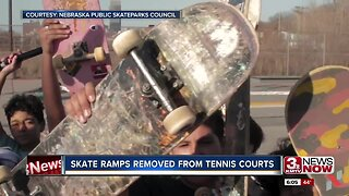 Skate ramps removed from tennis courts