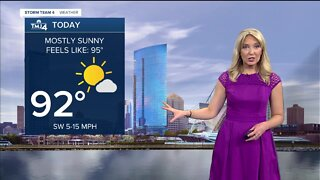 Mostly sunny, humid, and hot Monday