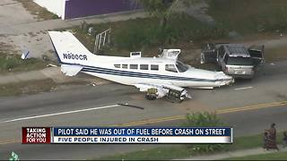 Pilot that crashed on St. Pete street may have run out of gas - Video
