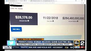 Pennsylvania woman gets $284 billion electric bill - Video