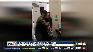 Naples student gets surprise visit from enlisted brother