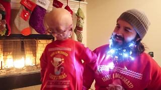 Adalia Rose's Christmas beard tutorial with her dad - Video