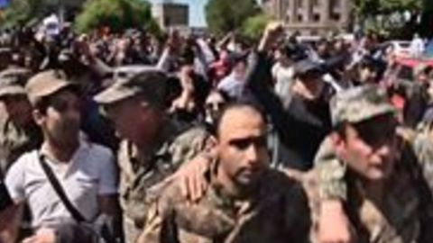 Men in Military Uniforms Join Armenian Anti-Government Protests