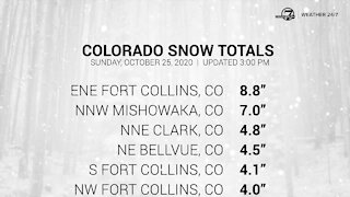 Colorado snow totals as of early Sunday afternoon