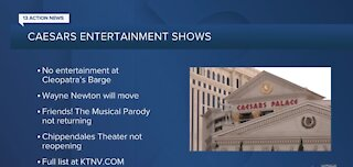 Caesars Entertainment closing smaller venues, ending shows in Las Vegas