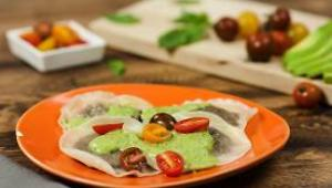Mushroom Ravioli with Avocado Pesto - Video