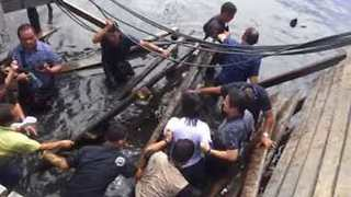 Public Housing Bridge Collapses During Government Inspection in Philippines