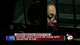 Mother leads police on chase with daughter in car - Video