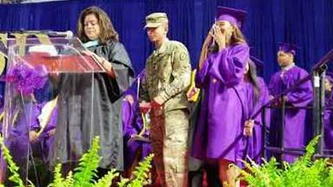 Soldier Surprises His Little Sister at Her High School Graduation