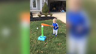 """Toddler Hits Dad While Playing T-ball"""