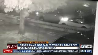 Driver slams into parked vehicles, drives off - Video