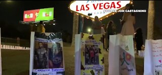 300 Light of Hope bags placed around the Las Vegas sign