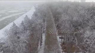 Hard rime phenomenon turns Chinese city into 'winter wonderland' - Video