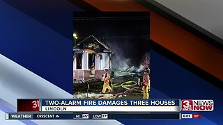 Two-alarm fire damages three houses in Lincoln