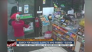 Police searching for armed robbers wearing clown and wolf masks - Video